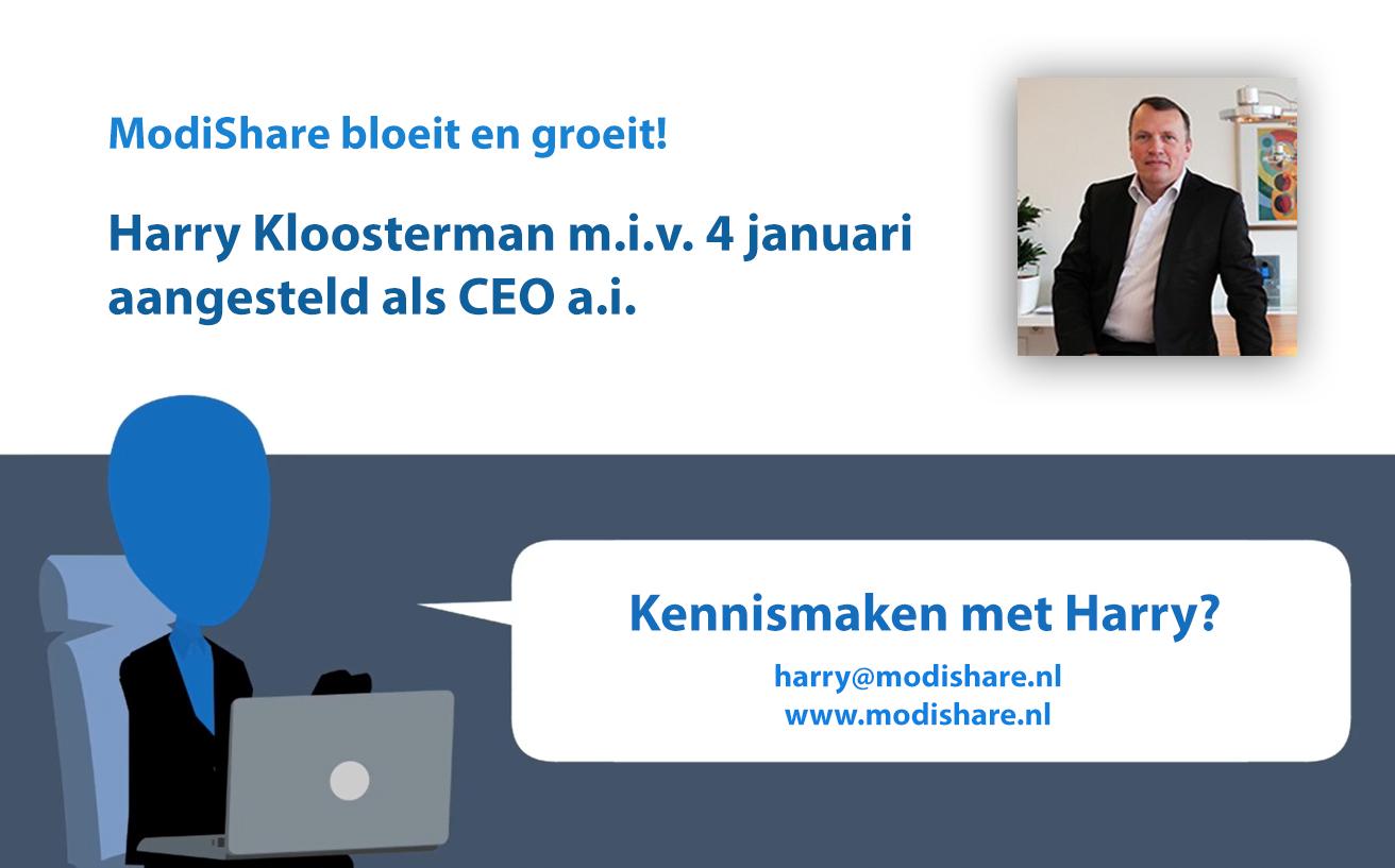 Harry Kloosterman aangesteld bij ModiShare als CEO