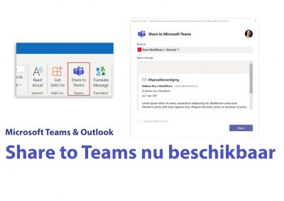Share to Teams nu beschikbaar in Outlook